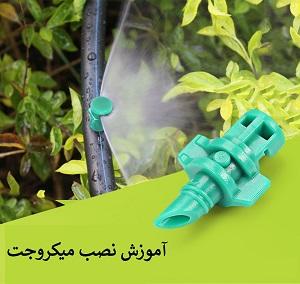 آبیاری باغچه توسط میکروجت های گلابی